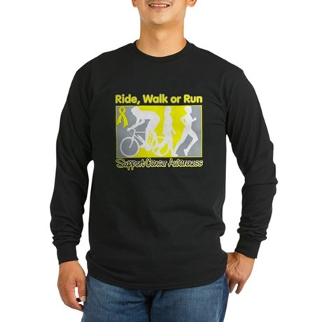 Bladder Cancer RideWalkRun Long Sleeve Dark T-Shir