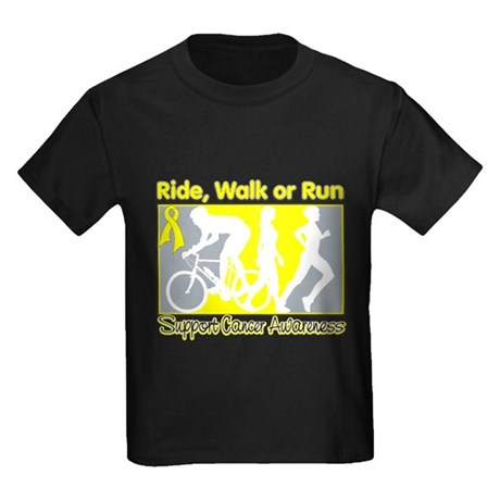 Bladder Cancer RideWalkRun Kids Dark T-Shirt