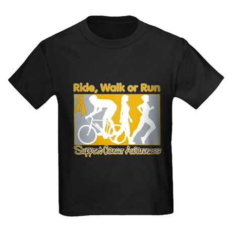 Appendix Cancer RideWalkRun Kids Dark T-Shirt