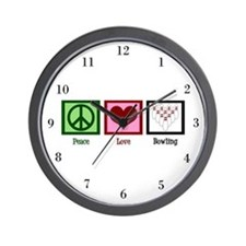 Peace Love Bowling Wall Clock