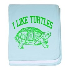 I Like Turtles - baby blanket