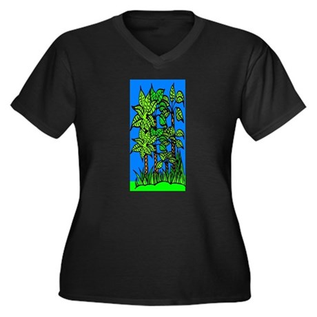 Abstract Trees Women's Plus Size V-Neck Dark T-Shi