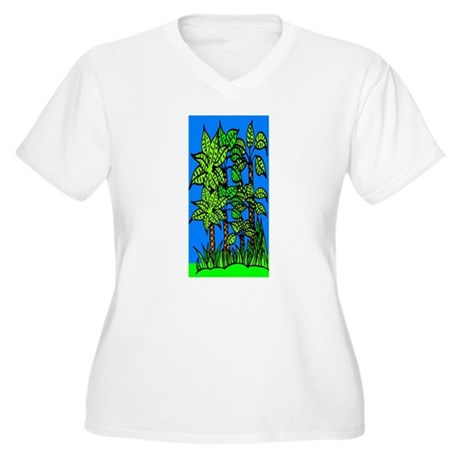 Abstract Trees Women's Plus Size V-Neck T-Shirt