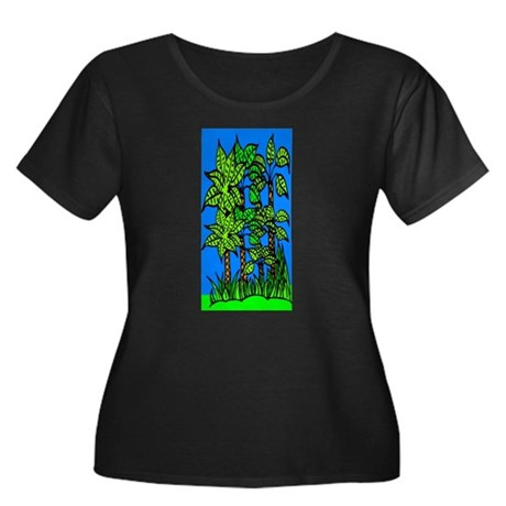 Abstract Trees Women's Plus Size Scoop Neck Dark T
