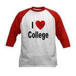 I Love College (Front) Kids Baseball Jersey