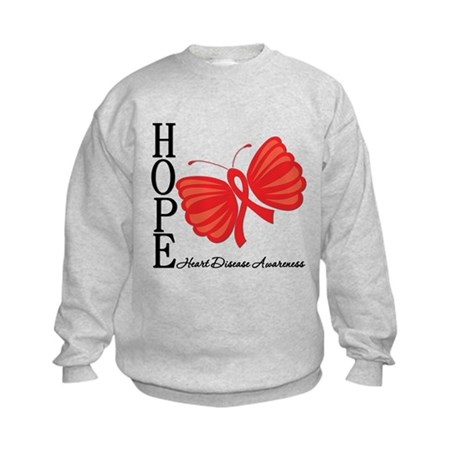 Heart Disease HopeButterfly Kids Sweatshirt