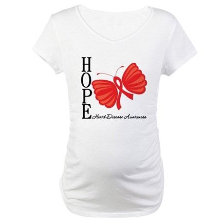 Heart Disease HopeButterfly Maternity T-Shirt