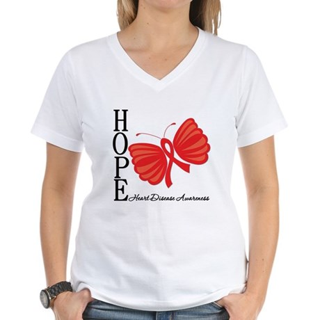 Heart Disease HopeButterfly Women's V-Neck T-Shirt