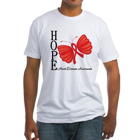 Heart Disease HopeButterfly Fitted T-Shirt