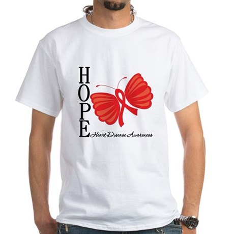 Heart Disease HopeButterfly White T-Shirt