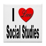 I Love Social Studies Tile Coaster