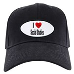 I Love Social Studies Black Cap