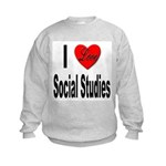 I Love Social Studies (Front) Kids Sweatshirt