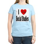 I Love Social Studies (Front) Women's Pink T-Shirt