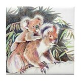 Koala Hugs Tile Coaster