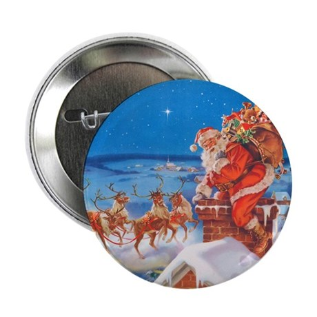 "Santa Up On the Rooftop 2.25"" Button (10 pack)"