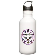 Wiccan Star and Butterflies Water Bottle