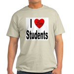 I Love Students (Front) Ash Grey T-Shirt