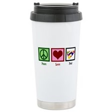 Peace Love Pool Ceramic Travel Mug