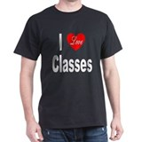 I Love Classes (Front) Black T-Shirt