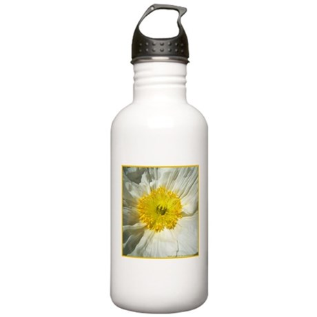 White Icelandic Poppy Stainless Water Bottle 1.0L
