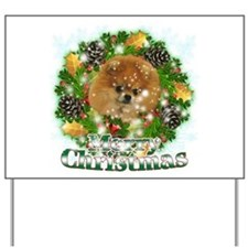 Merry Christmas Pomeranian Yard Sign