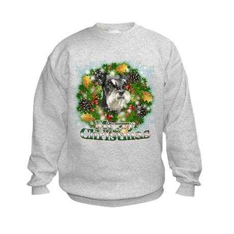 Merry Christmas Miniature Schnauzer Kids Sweatshir