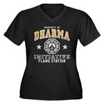Dharma Flame Station Women's Plus Size V-Neck Dark