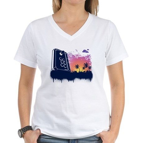 Video Game Beach Women's V-Neck T-Shirt