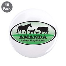 "Amanda Animal Hospital 3.5"" Button (10 pack)"