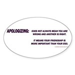 APOLOGY Sticker (Oval 50 pk)