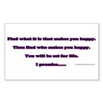 BE HAPPY Sticker (Rectangle 50 pk)