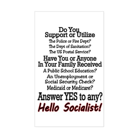 Hello Socialist Sticker (Rectangle)