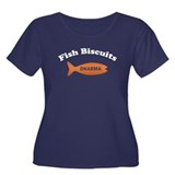 Dharma Fish Biscuits Women's Plus Size Scoop Neck