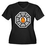 Dharma Flame Women's Plus Size V-Neck Dark T-Shirt