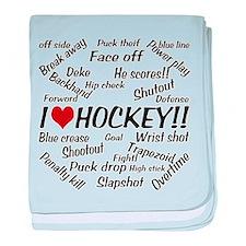 I Love Hockey baby blanket