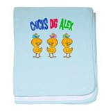 Chicks Dig Alex baby blanket
