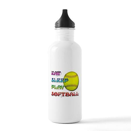 Eat Sleep Play Softball 3 Stainless Water Bottle 1