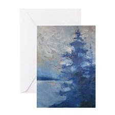 Artistic Blue Pine Greeting Card