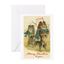 Collies with Bagpipes Christmas Greeting Card