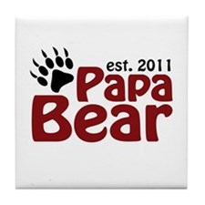 Papa Bear Est 2011 Tile Coaster