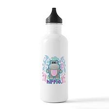 Retro Hippie Hippo Water Bottle