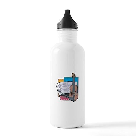 Violin and Sheet Music Design Stainless Water Bott