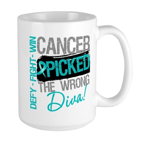 OvarianCancer PickedWrongDiva Large Mug