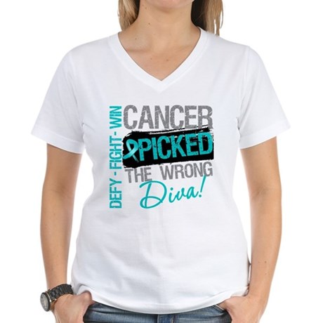 OvarianCancer PickedWrongDiva Women's V-Neck T-Shi