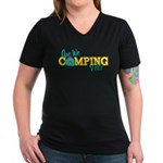 Are We Camping Yet? Women's V-Neck Dark T-Shirt