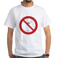 "Sober Living T-Shirt, White: ""No Hard Liquor"""