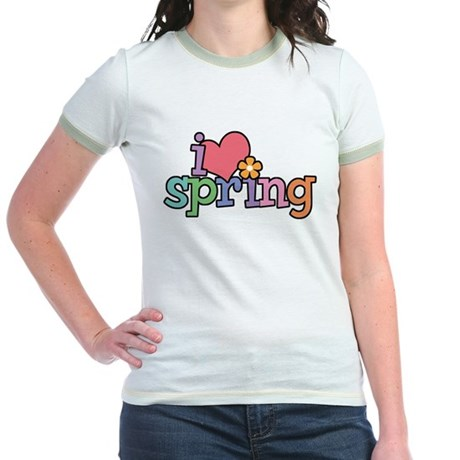 I Love Spring Jr. Ringer T-Shirt