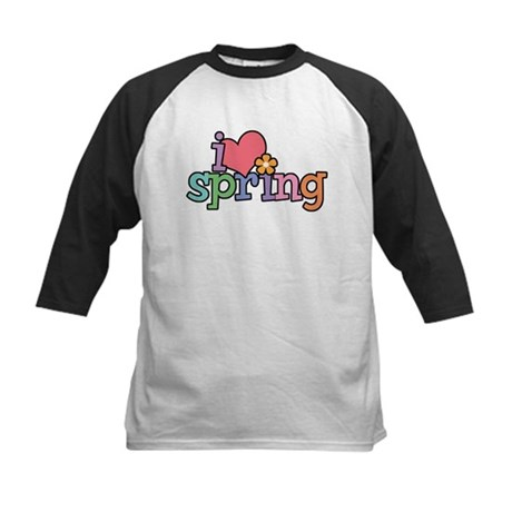 I Love Spring Kids Baseball Jersey