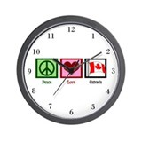 Peace Love Canada Wall Clock